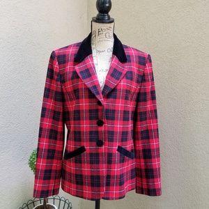 Pendleton Wool Plaid Blazer Size 12